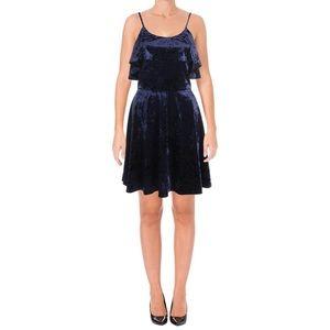 AQUA Velvet Mini Skater Dress